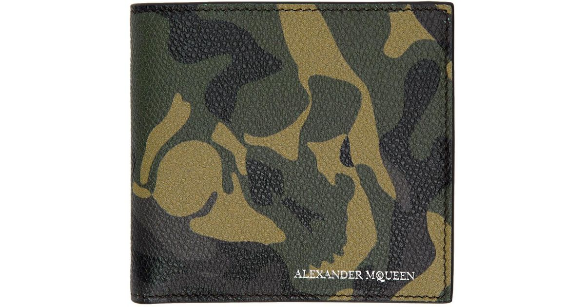 e14b8d0c782af Alexander McQueen Green Camouflage Wallet in Black for Men - Lyst