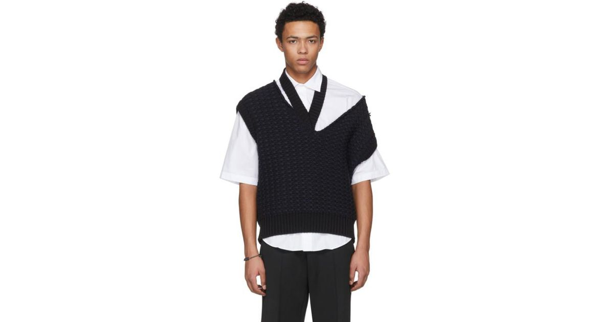55e8517fd3aa47 Raf Simons Black Cropped Knit Vest in Black for Men - Lyst
