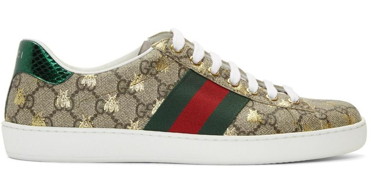 b5c01423b86 Lyst - Gucci Beige And Brown GG Supreme Bees Ace Sneakers in Natural for Men
