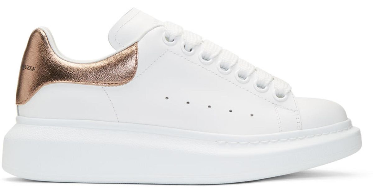 4eb884cbc9623 Lyst - Alexander McQueen White And Rose Gold Oversized Sneakers in White