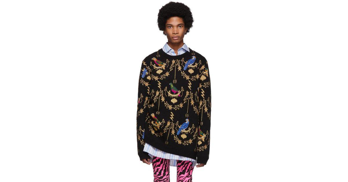 fd5b7ff2f47 Gucci Voliére Wool Jacquard Sweater in Black for Men - Lyst