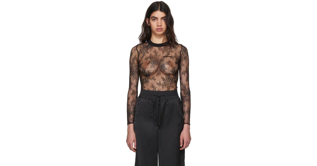 5f1911871e95 Off-White c/o Virgil Abloh Black Lace Crewneck Bodysuit in Black - Lyst