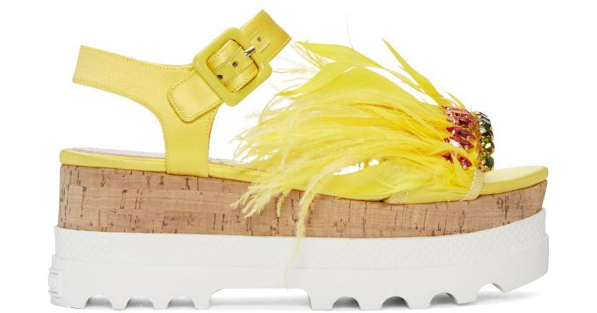 74857bebd9d Lyst - Miu Miu Yellow Feather Compact Sole Sandals in Yellow