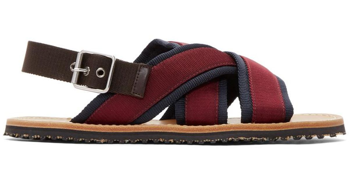 Pick A Best Marni Navy & Burgundy Nastro Sandals Buy Cheap Newest Popular Cheap Online 4T4fG1a