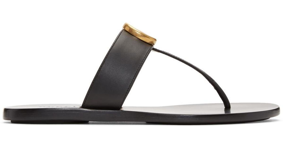 01ed26b1c Gucci Marmont Embellished Leather Sandals in Black - Save 15% - Lyst