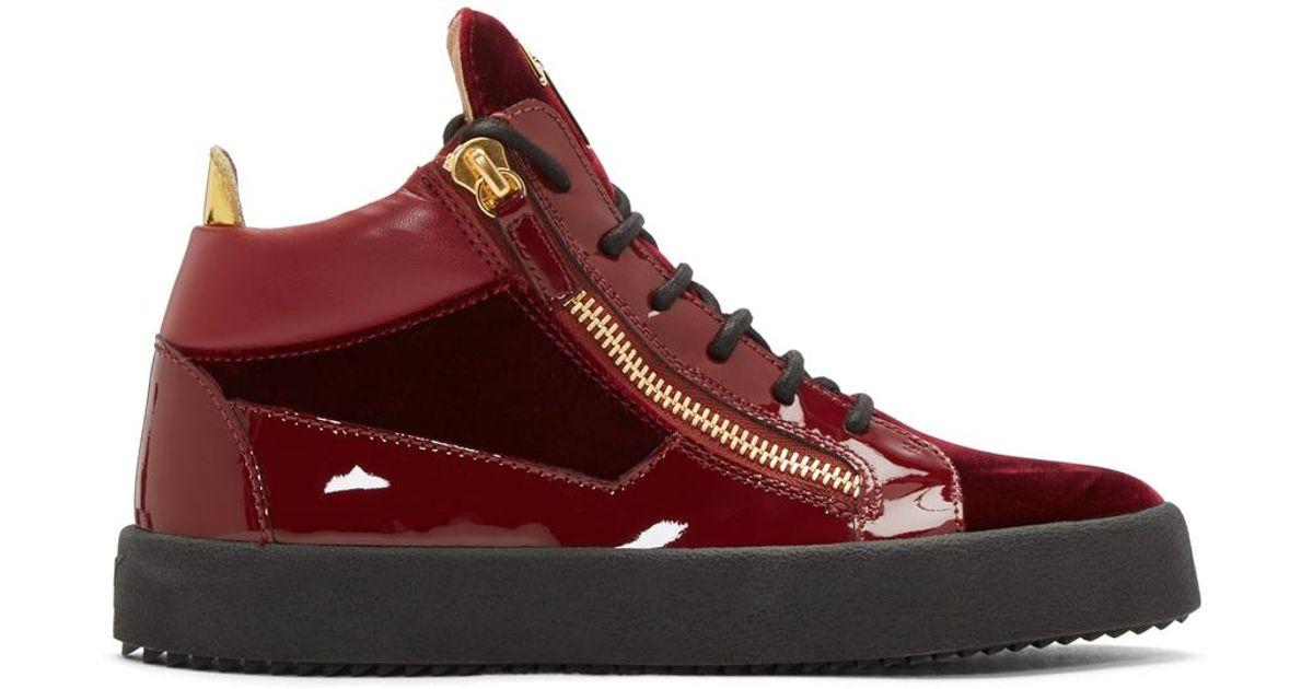 5eedcd7a3d88 Lyst - Giuseppe Zanotti Red Velvet London High-top Sneakers in Red for Men