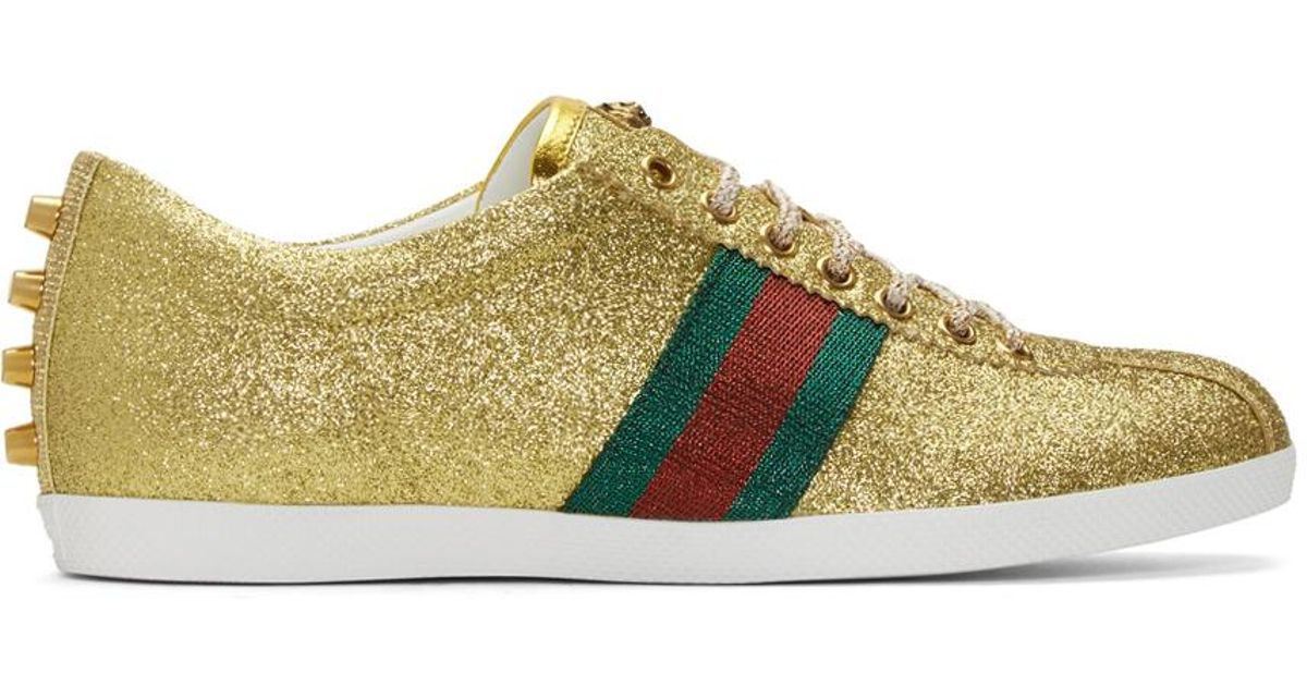 492fd23a7 Gucci Gold Glitter Bambi Sneakers in Metallic for Men - Lyst