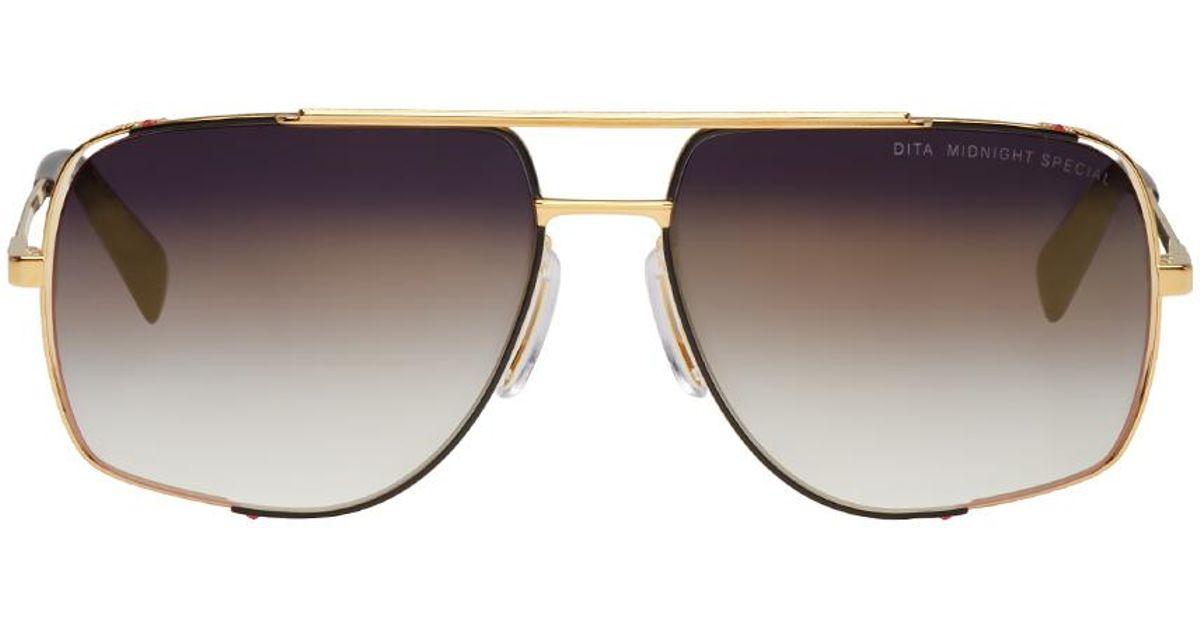 74a205fcb23 Lyst - DITA Gold Midnight Special Aviator Sunglasses in Metallic for Men