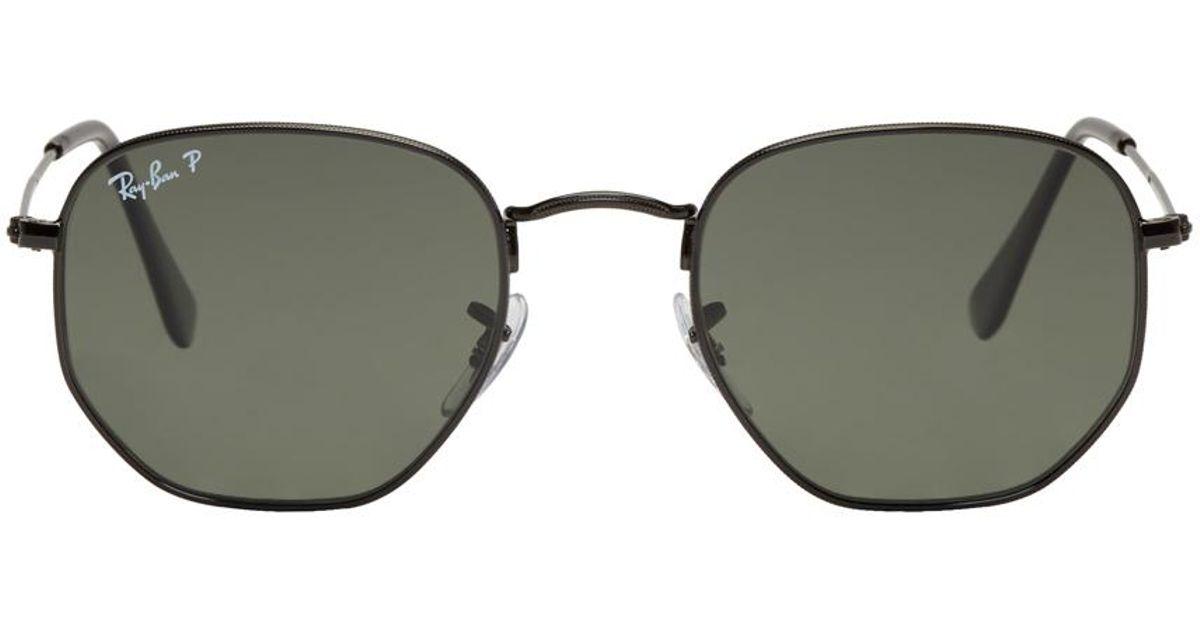 770cc9b34d013 Lyst - Ray-Ban Black Hexagonal Flat Sunglasses in Metallic for Men