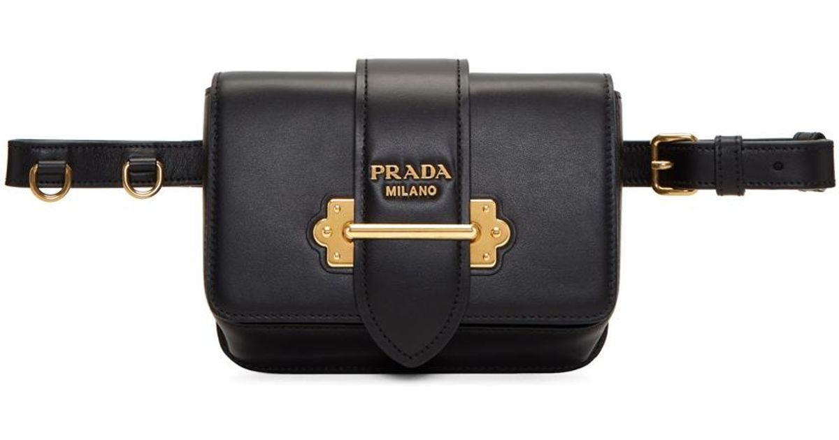 eafb24f86 Prada Black Cahier Chain Belt Bag in Black - Lyst