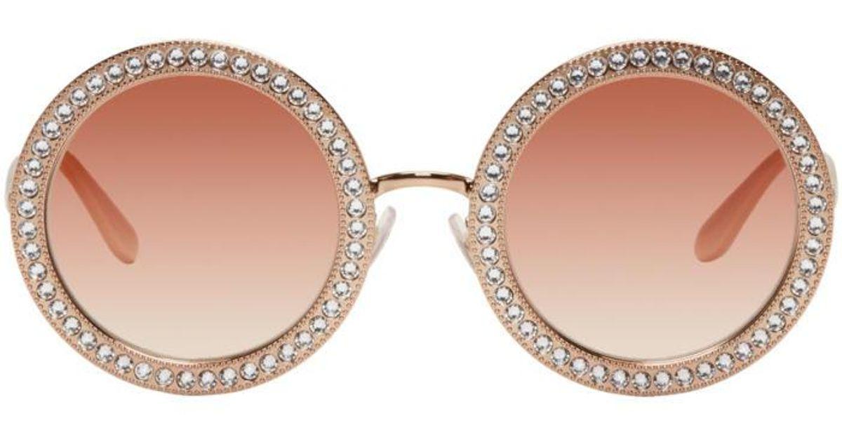 4d0bb0411844 Lyst - Dolce   Gabbana Rose Gold Round Crystal Sunglasses in Metallic