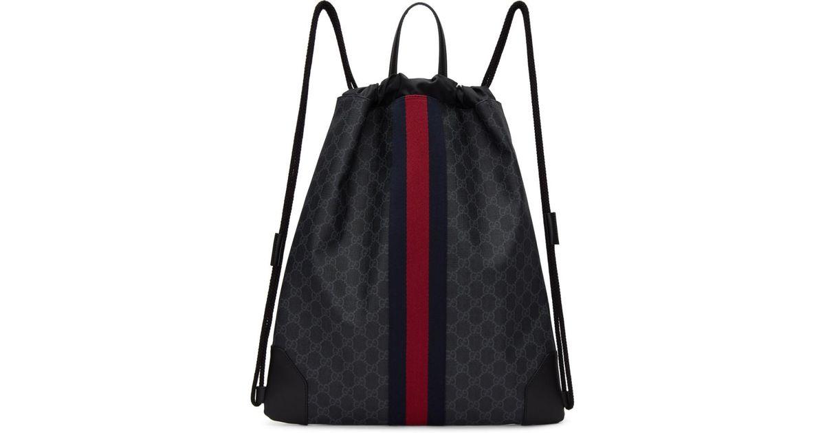 593bea275a16d6 Gucci Black GG Supreme Drawstring Backpack in Black for Men - Lyst