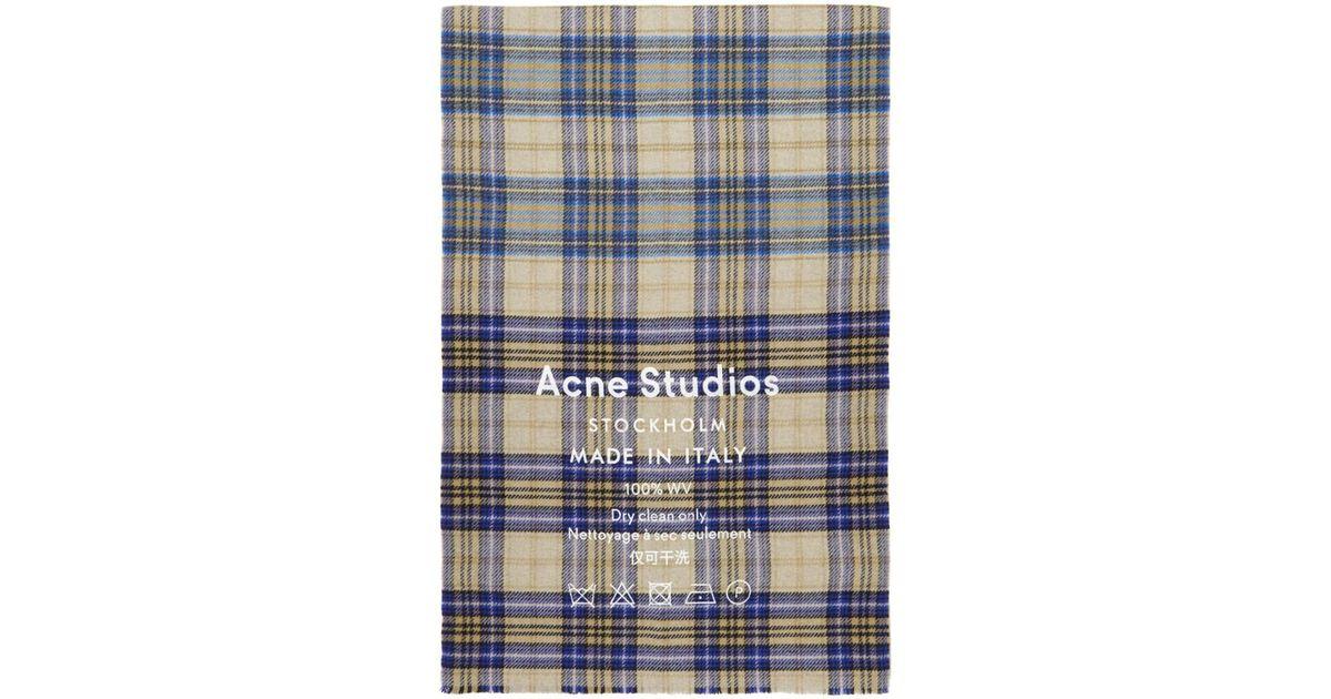 035441428d02 Lyst - Foulard a carreaux brun Cassiar Acne Studios pour homme