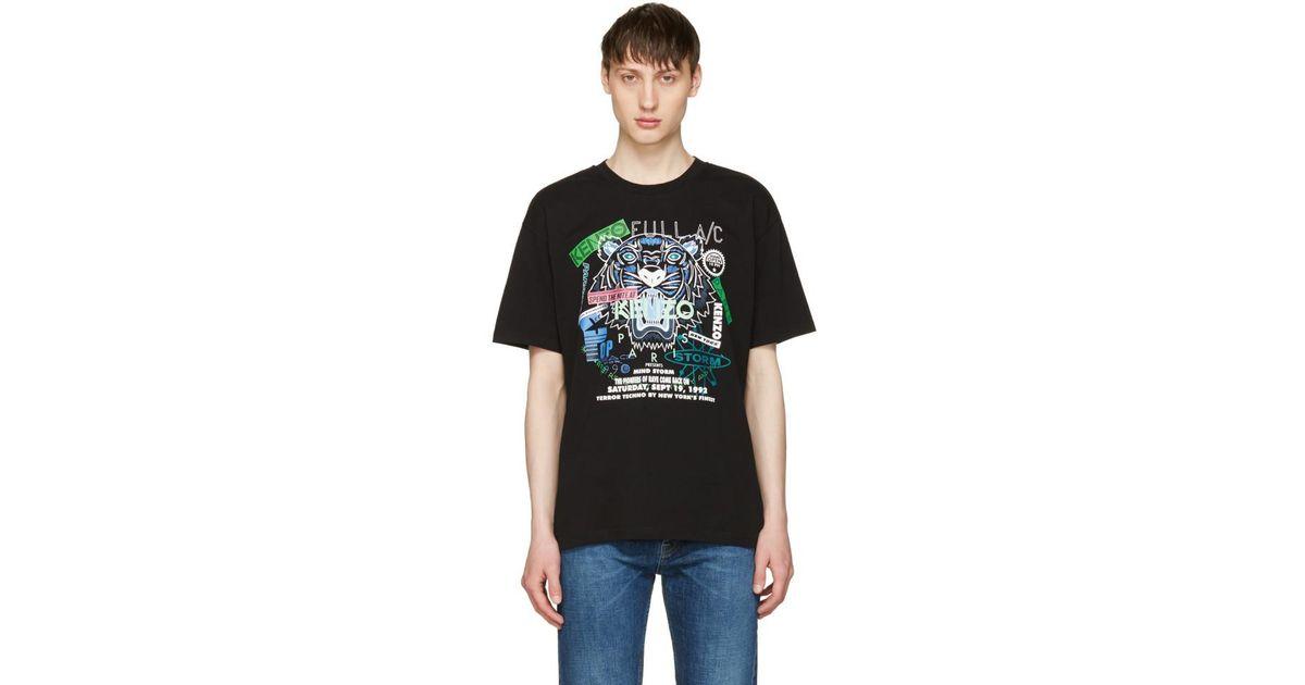 18d398586fab KENZO Black  tiger X Flyer  T-shirt in Black for Men - Lyst