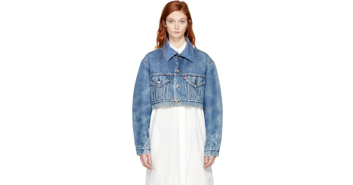 discover latest trends enjoy bottom price yet not vulgar Re/done Blue Indigo Levis Edition Cropped Denim Jacket