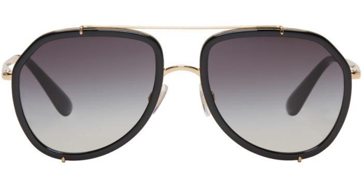 26b771c3280 Dolce And Gabbana Black And Gold Sunglasses