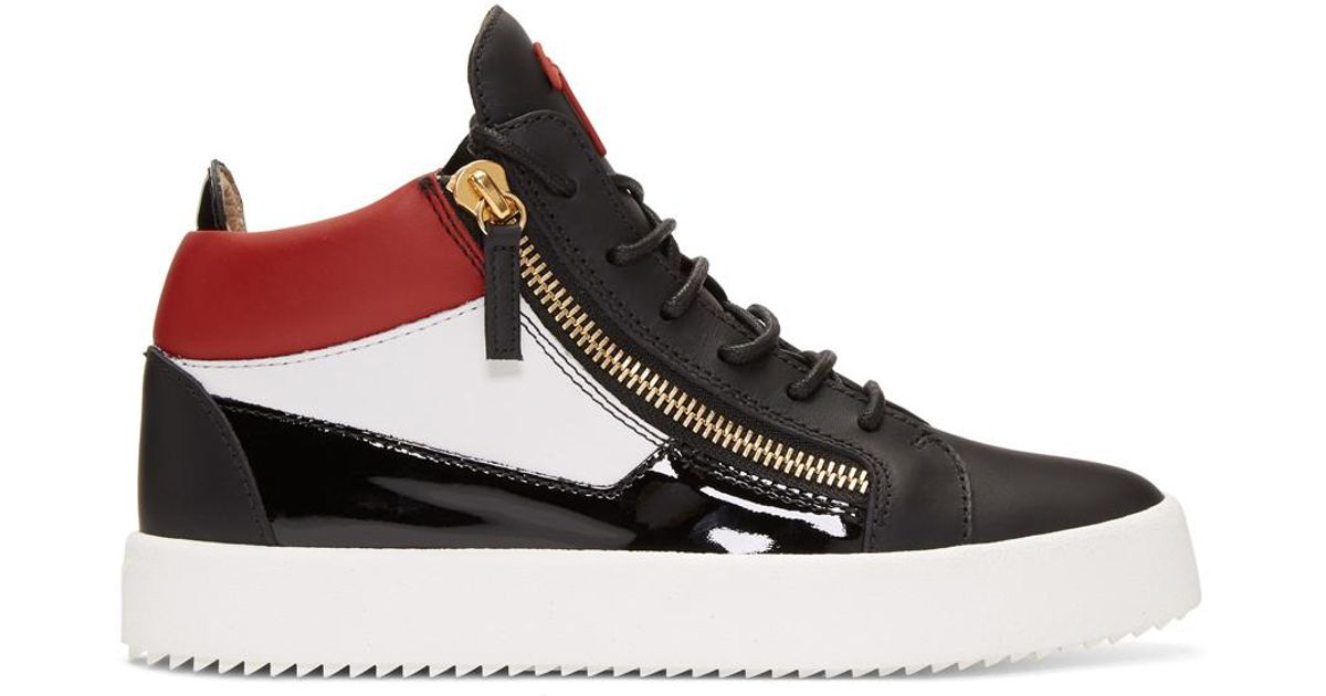 16a52b01b406 Lyst - Giuseppe Zanotti Black And Red Kriss Sneakers in Black for Men