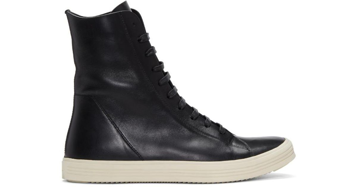Rick Owens Black & Off-White Mastodon High-Top Sneakers zfcqV9t