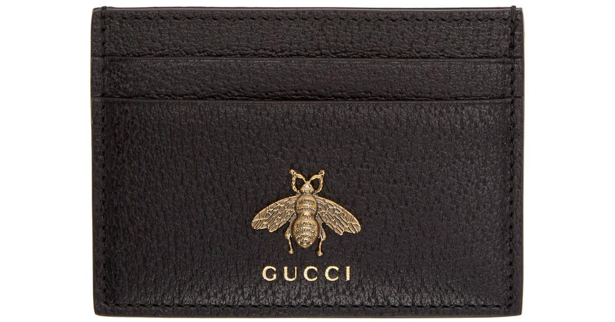 d9c74dd552bc2f Gucci Black Bee Card Holder in Black for Men - Lyst
