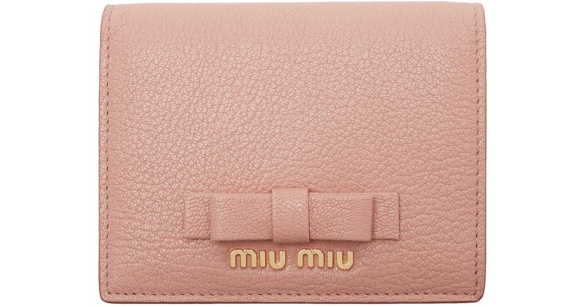 Lyst - Miu Miu Pink Leather Bow Wallet in Pink 73329cb6d120a