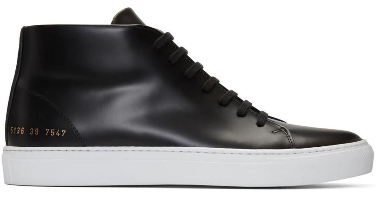 Common Projects Black New Court Mid Top Sneakers