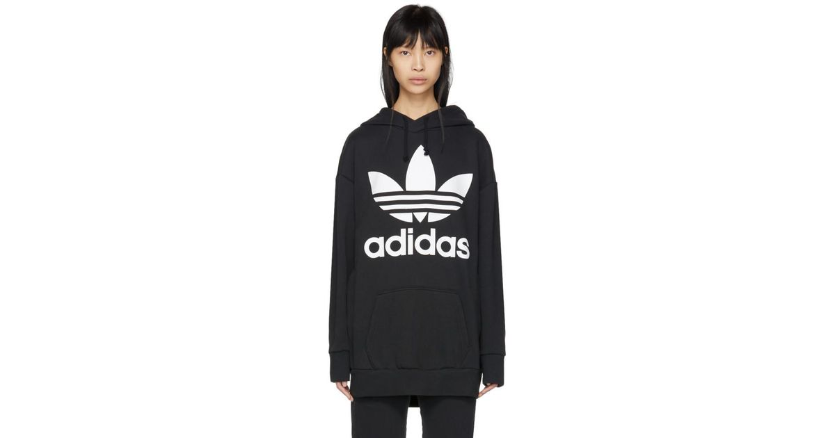 f2375515ed89a adidas Originals Black Trefoil Oversized Hoodie in Black - Lyst