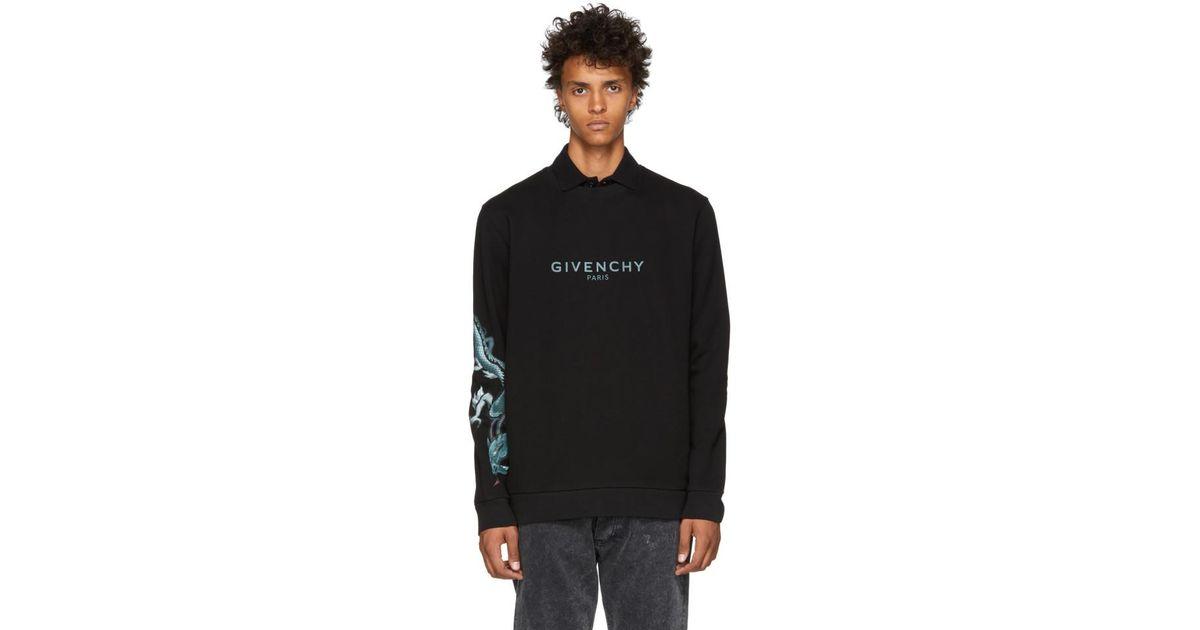 d626d19a80b Lyst - Pull molletonne a logo noir Capricorn Dragon Givenchy pour homme en  coloris Noir
