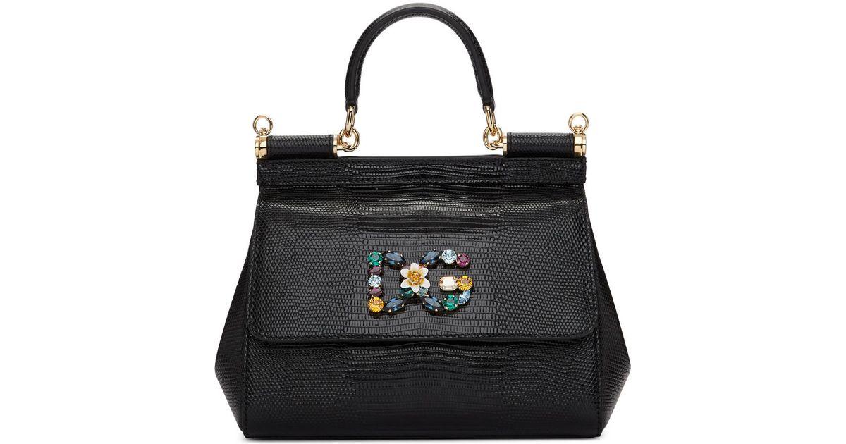 216b82f5cfd4 Lyst - Dolce   Gabbana Black Iguana Small Miss Sicily Bag in Black