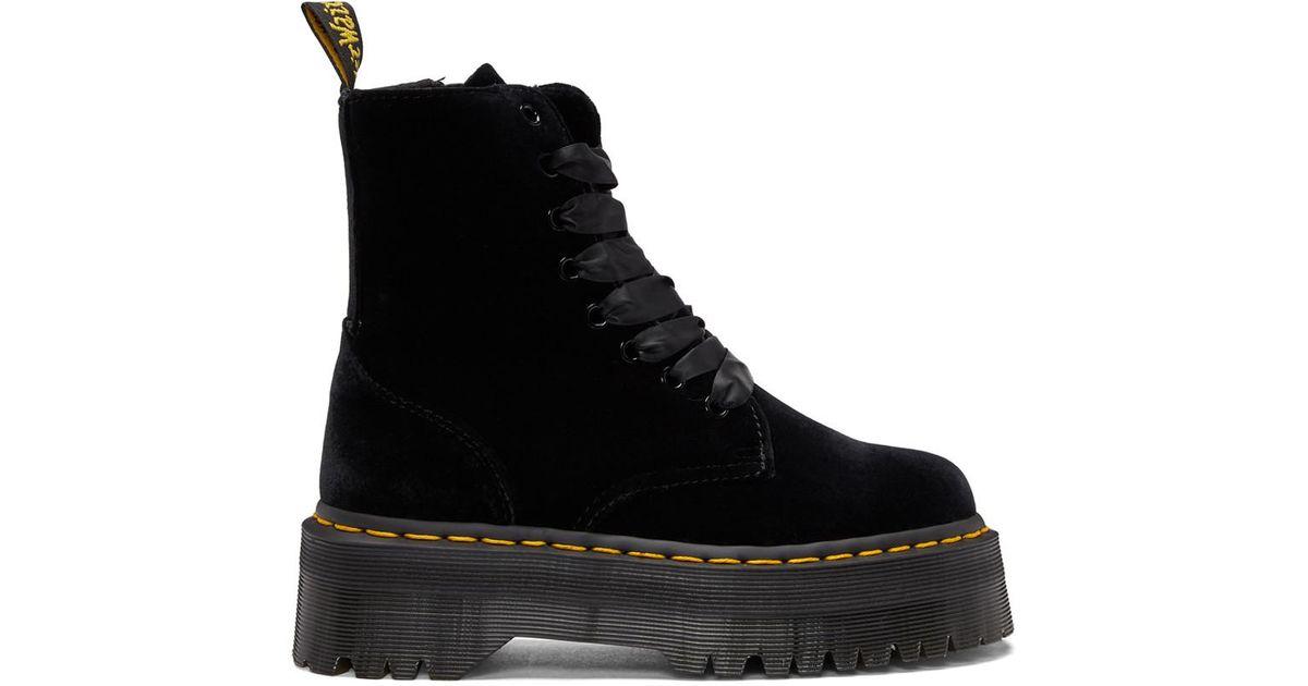 9ee7db0f5f975d Dr. Martens Black Velvet Jadon Platform Boots in Black - Lyst