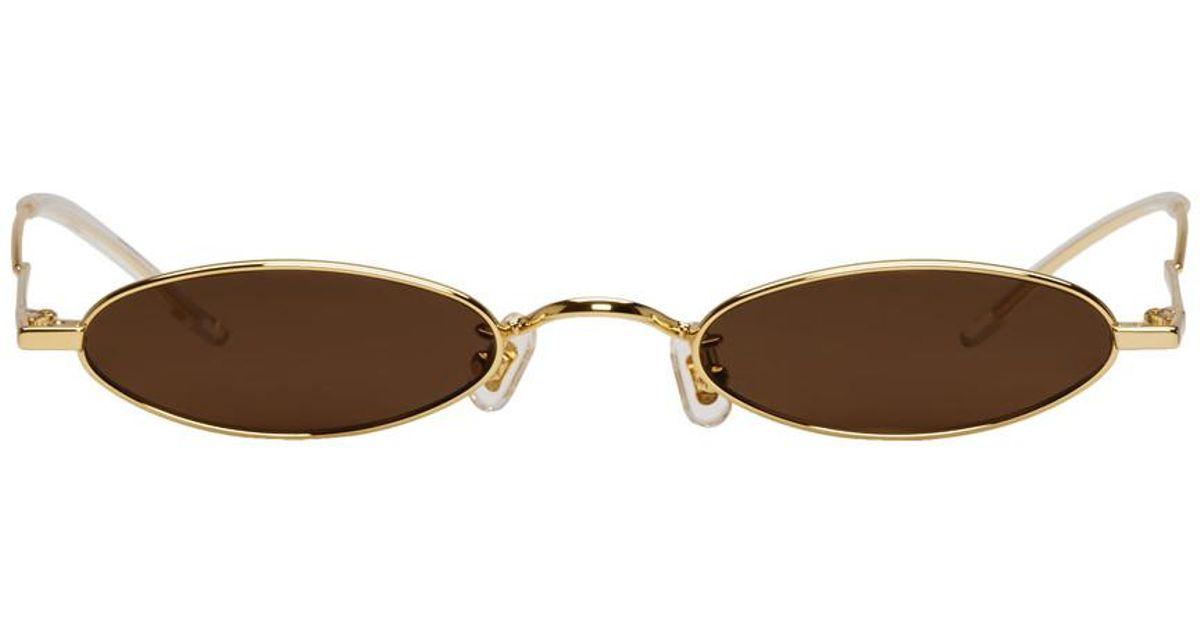 82460d15b09 Lyst - Gentle Monster Ssense Exclusive Gold And Brown Vector Sunglasses in  Metallic for Men