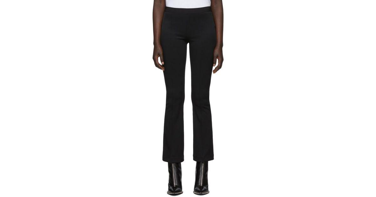 ec8b2dfe1691a6 Helmut Lang Black Cropped Flare Rib Trousers in Black - Lyst