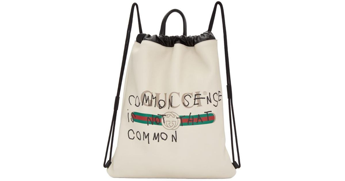 e9b796523837 Gucci Off-white Coco Capitán Edition 'fake ' Drawstring Backpack in White -  Lyst