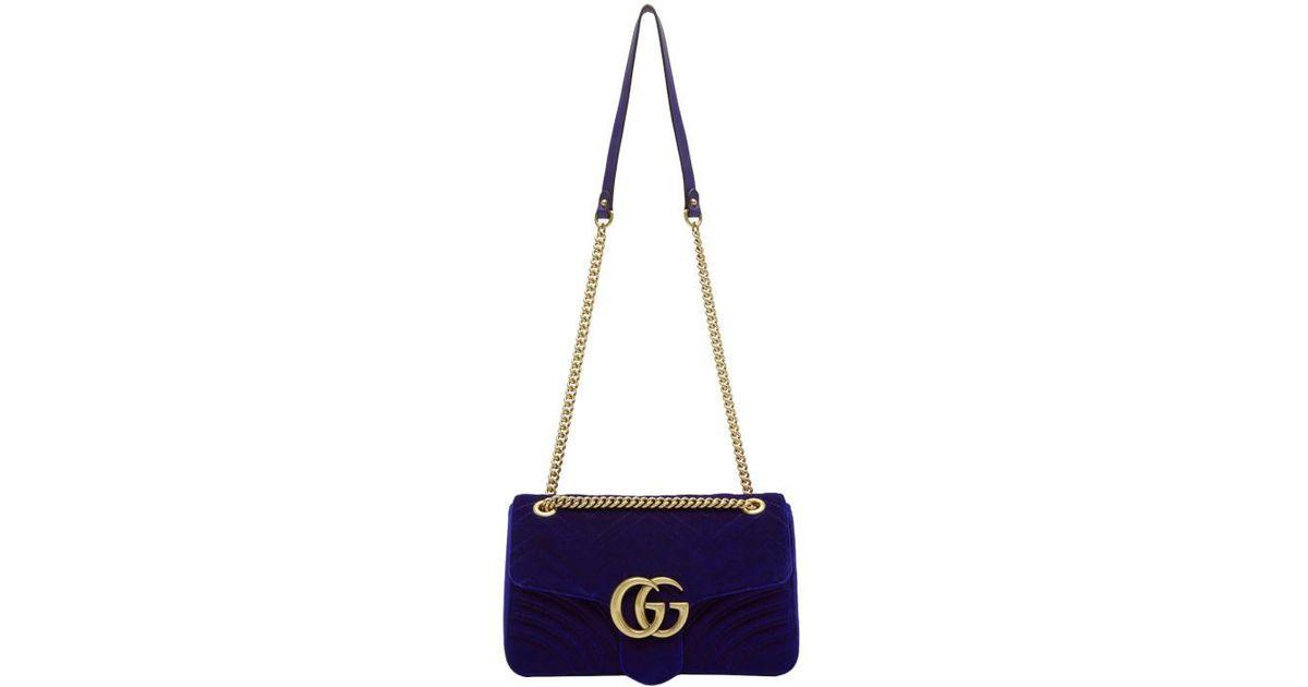 d30960ea8 Gucci Blue Velvet Medium Gg Marmont 2.0 Bag in Blue - Lyst
