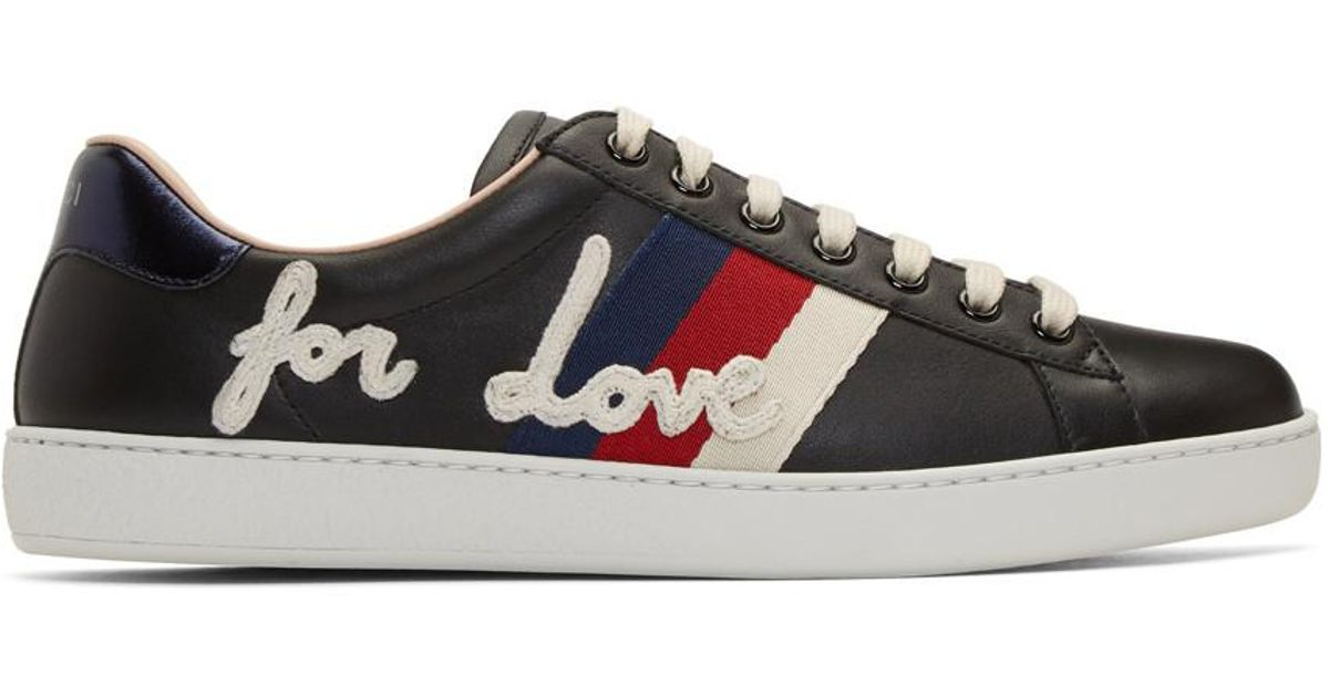 07e996bb7c55 Lyst - Gucci Black Blind For Love New Ace Sneakers in Black for Men
