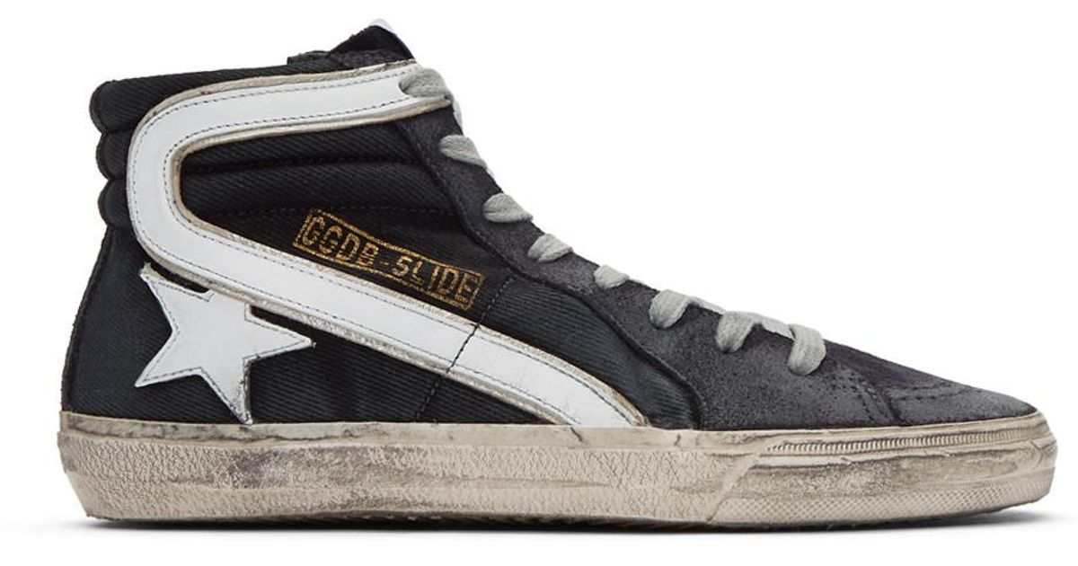 Navy Denim Slide High-Top Sneakers Golden Goose 9AqBVpgI