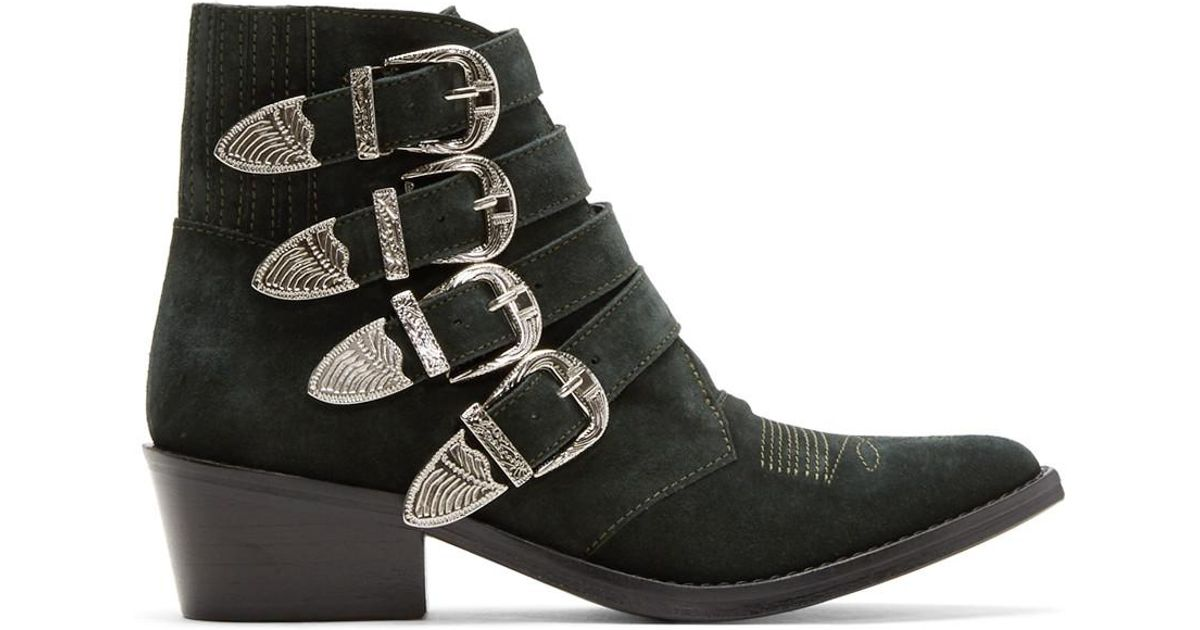 2d7468645203 toga-pulla-green-Green-Suede-Four-buckle-Western-Boots.jpeg