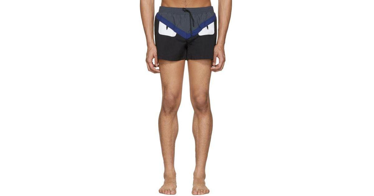 5408bc12ce Lyst - Fendi Black 'bag Bugs' Swim Shorts in Black for Men
