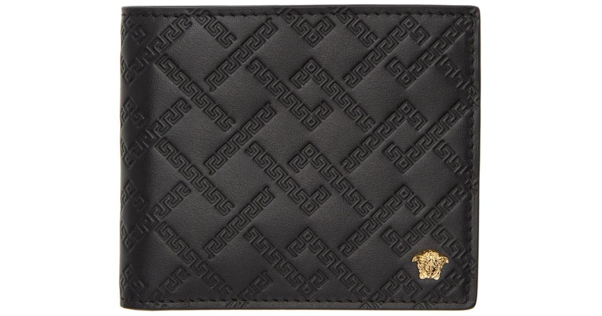 b2ed159047 Versace Black Greek Key Wallet in Black for Men - Lyst