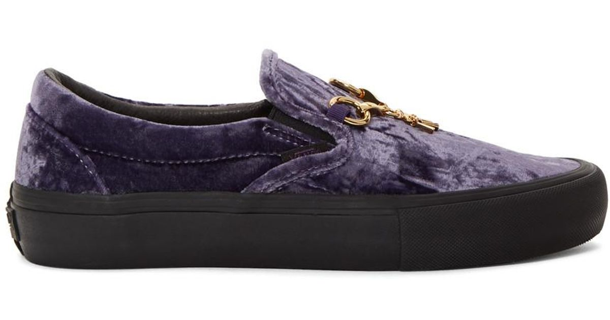 4c2a1efab50606 Lyst - Needles Purple And Black Vans Edition Velvet Slip-on V Sneakers in  Black for Men