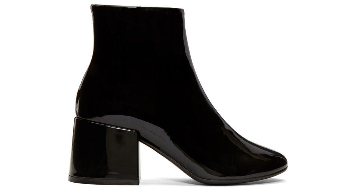 Black Patent Flare Heel Boots Maison Martin Margiela Super htIoIb
