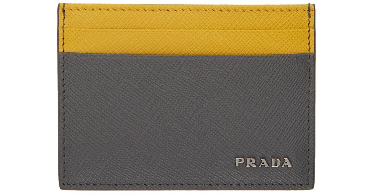 f68a18933461 ... ireland lyst prada grey and yellow saffiano bicolor card holder in gray  for men 3f36c 6a2fb
