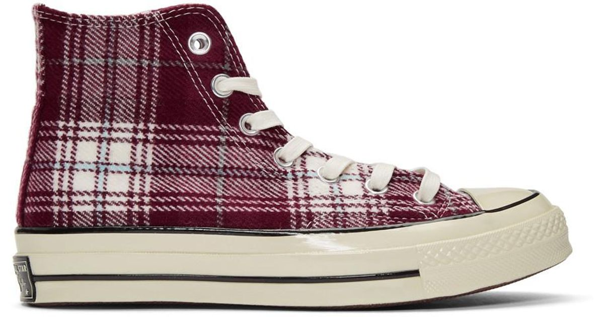 5d5e3ea134f1 Converse Burgundy Plaid Chuck 70 High Sneakers for Men - Lyst