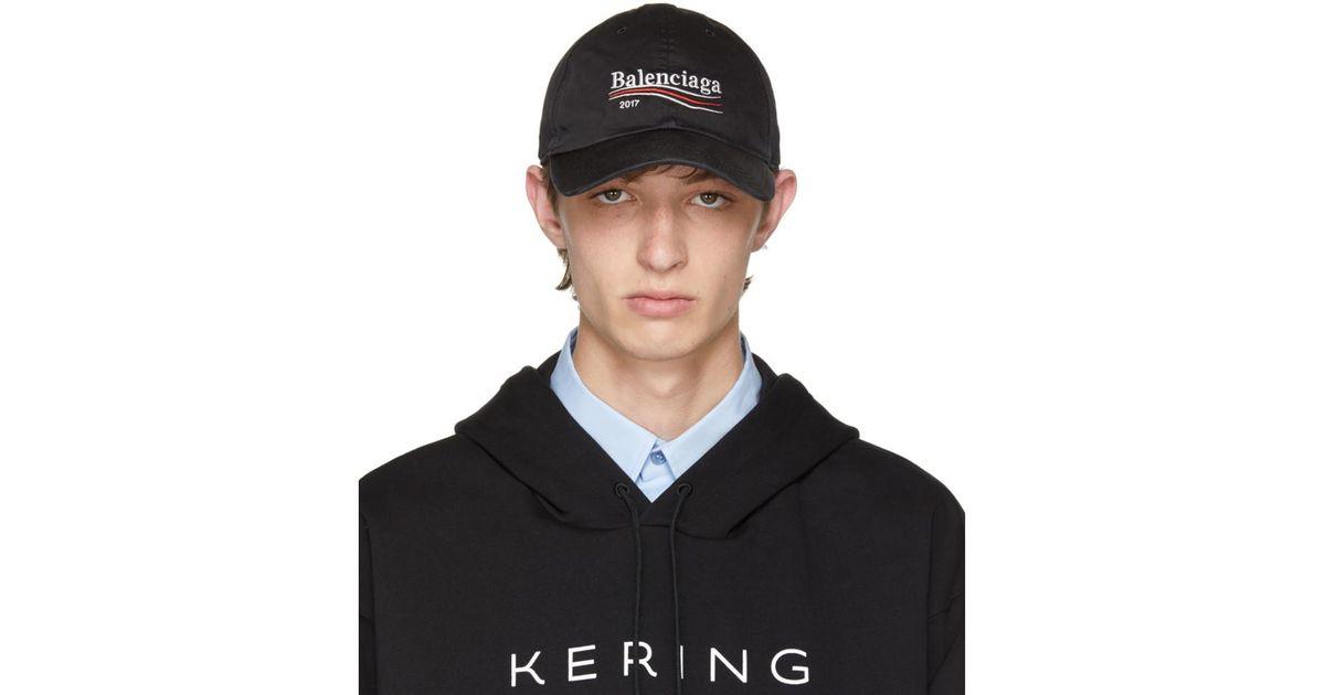 16411f60f5f Lyst - Balenciaga Black Campaign Logo Cap in Black for Men