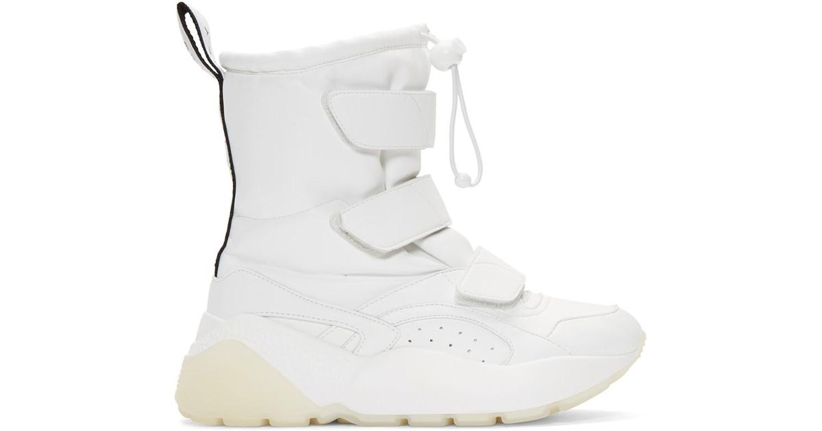 be432464c2f7f Stella McCartney Eclypse Logo-woven Faux Leather Snow Boots in White - Lyst