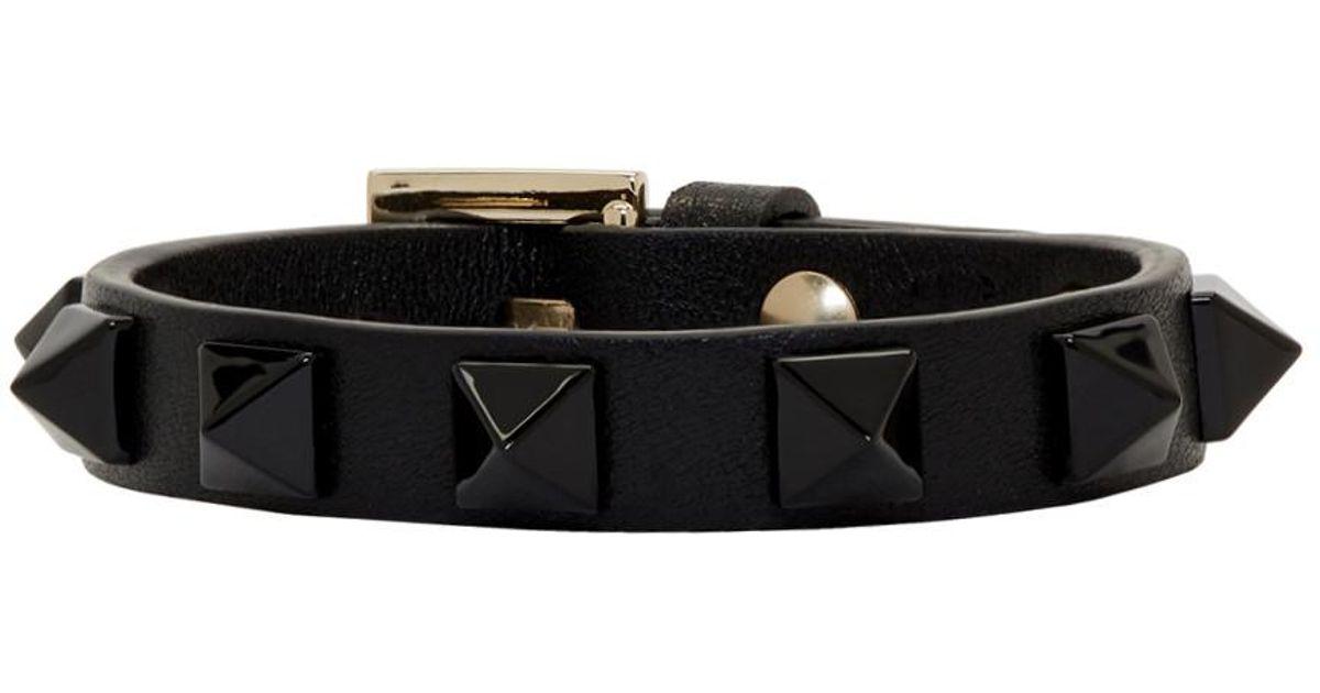 Black Valentino Garavani Single Tonal Rockstud Bracelet Valentino znimO2