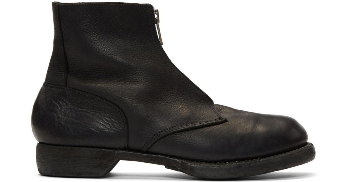 Guidi Black Soldato Front Zip Boots