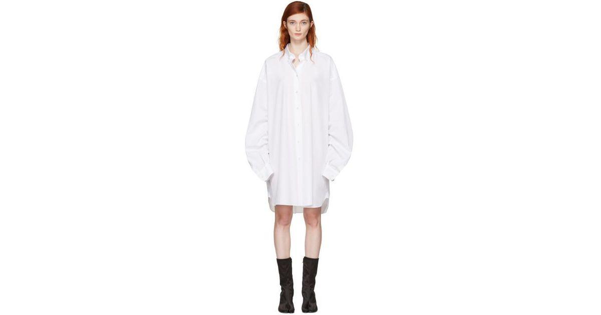 White Oversized Shirt Dress Maison Martin Margiela Discount Browse PNw2418YnJ