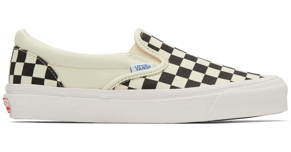 0ee7fa604ad8 Lyst - Vans Black And Off-white Og Checkerboard Classic Slip-on Sneakers in  Black