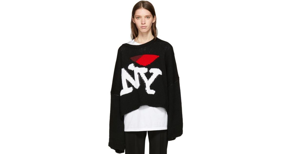 Lyst Raf Simons Black Oversize I Love Ny Sweater In Black