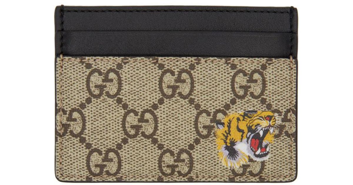 12355fc04ebc7 Lyst Gucci Beige Gg Supreme Tiger Card Holder In Natural. Gucci 2 Fold  Wallet Card Business Case ...